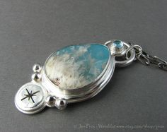 Regency Rose Plume Agate mounted on turquoise statement by prox, $210.00
