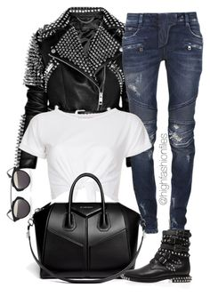 """""""Studded"""" by highfashionfiles ❤ liked on Polyvore featuring moda, Burberry, Balmain, Christian Dior, INC International Concepts, Givenchy e Yves Saint Laurent"""