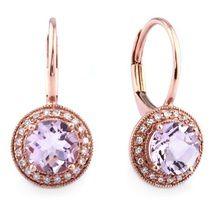 Pink Amethyst Diamond Halo Rose Gold Drop Earrings