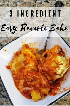 Recipe: 3 Ingredient Easy Ravioli Bake Other Recipes, My Recipes, Gourmet Recipes, Baking Recipes, Holiday Recipes, Favorite Recipes, Most Pinned Recipes, Ravioli Bake, Recipe From Scratch