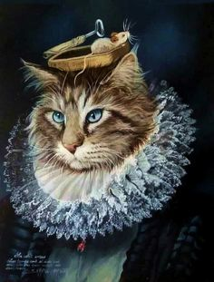 Anthropomorphic cat painting by French painter Sylvia Karle Marquet. (Les Chats de Sylvia Karle Marquet)