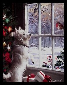 Richard Macneil This reminds me of christmas when my mom still had her dog. We would wait for the robin to stop by her garden Richard Macneil This reminds me of christmas when my mom still had her dog. We would wait for the robin to stop by her garden Merry Little Christmas, Vintage Christmas Cards, Christmas Love, Winter Christmas, Christmas Crafts, Christmas Decorations, Xmas, Christmas Costumes, Beautiful Christmas