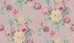 Bouquet (BOUWP053) - Anna French Wallpapers - A stunning glorious profusion of flowers in soft muted colours as if hand painted on a vibrant sugar pink background. Please ask for sample for true colour match.