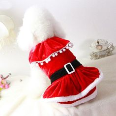 Adorable Mrs Claus Christmas Winter Costume Red Dress For Dogs  dogs  red   dogclothes 2e971d352a5
