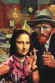 Tagged with Funny; Shared by mona Lisa and van gogh. collage by Barry kite Pop Art, Arte Pop, Collages, Art Du Collage, Mona Lisa Parody, Photocollage, Funny Art, Art Plastique, Vincent Van Gogh