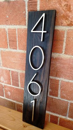 New house numbers project and a giveaway    4 Men 1 Lady   For the     Modern Walnut Address Plaque by GoodToTheGrain on Etsy