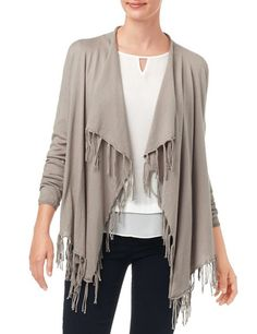 #Taifun Fashion Blues #poncho #vest tricot taupe met franjes
