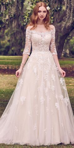 Romantic Tulle Scoop Neckline A-line Wedding Dress With Lace Appliques & Beadings