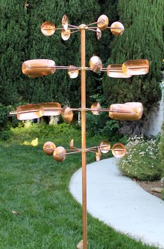 Kinetic Copper Wind Sculptures and Wind Spinners