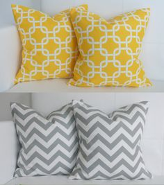 Four Grey and Yellow Throw Pillow Covers Decorative Accent Pillow Covers Set of Four - 16x16. $70.00, via Etsy.
