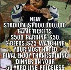 Happy Thanksgiving Russell Wilson & Richard Sherman Madden Players of the game. Eating turkey on rival logo. Nice finish to a great day. Seahawks Football, Broncos Fans, Best Football Team, Football Baby, Football Season, Seattle Sounders, Seattle Seahawks, Michael Carter, Nfc West