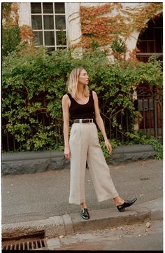 These pants have a flattering high waist and a wide leg with a cuff. They have darts and a jet pocket at the back, feature belt loops with topstitching. Made in Melbourne, Australia Summer Pants Outfits, Uni Outfits, Spring Outfits, Casual Outfits, Fashion Outfits, Everyday Outfits, Linen Pants Outfit, Wide Leg Linen Pants, Wide Pants