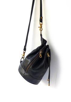 Vintage Andrew Marc New York black leather drawstring by evaelena, $65.00