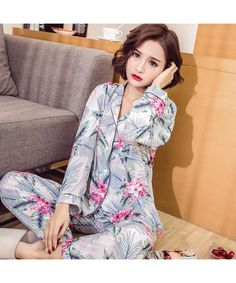 79dc81c7ca New comfy cotton pajama sets women long sleeve printed cheap pjs for spring  Cotton Sleepwear