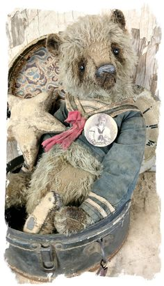 "Image of JUMBO SIZE Old & Worn MOHAIR SAILOR Bear -14.5"" By Whendi's Bears"