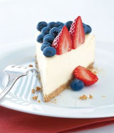 This healthy dessert recipe for red, white, and blue cheesecake has blueberries and strawberries--but not a lot of fat.