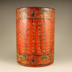Vintage Chinese Lacquerware Poetic Prose Brush Pot