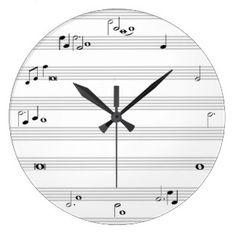 Reloj de tiempo de la nota de la música - blanco y