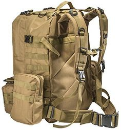 Large Tactical Backpack -with 3 Bonus MOLLE Bags - and 2.5L Hydration Water Bladder system included.
