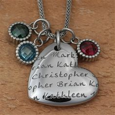 LifeNames PagePendant Heart features Your Children's Names and Birthstones! - 50% Off Holiday Sale Through December 23, 2015!