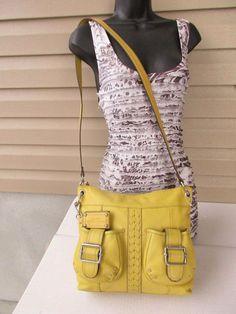 Tignanello shoulder bag cross body Yellow Pebbled Leather #Tignanello #MessengerCrossBody
