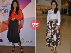 If you have been following fashion trends, you already know what a rage tea length skirts and dresses are. If you don't know what tea length is, it's a hemline that falls just above your ankles; something between a maxi and midi. Inspired from the '50s, these skirts have made a comeback in 2014. We spotted Shilpa Shetty and Tisca Chopra in tea length skirts this week. Who do you think pulls off this trend better?
