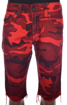 True Religion Mens Shorts Size 30 Straight With Flaps Cut off, Red Camo NWT $160 #TrueReligion #Denim