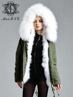 Pink Faux Fur Hooded Full Padded Parka Coat Khaki Green | Fashion ...