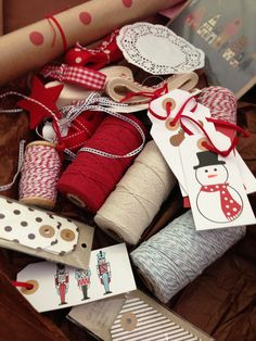 An array of Christmas wrapping goodies