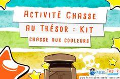 Activités chasse au trésor pour enfants sur les couleurs. Défis ludique pour une chasse au trésor