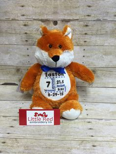 Baby Cubbies fox with custom embroidery https://www.etsy.com/listing/242573023/baby-cubbies-personalized-fox-adorable