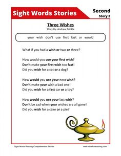 Using this Three Wishes Second Sight Words Reading Comprehension Worksheet, students build their reading comprehension and phonics skills while reading second grade sight words. First Grade Reading Comprehension, Phonics Reading, Reading Comprehension Worksheets, Reading Passages, Kindergarten Reading, Teaching Reading, Word Reading, Reading Stories, Sight Word Flashcards
