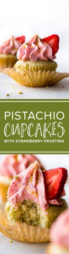 Pistachio almond cupcakes with real strawberry frosting no artificial flavor. Soft and fluffy cupcakes from scratch! http://sallysbakingaddiction.com/2017/02/13/pistachio-cupcakes-with-creamy-strawberry-frosting/