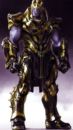 In this batch of Avengers: Endgame concept art, we get to see a host of different armour designs for the Mad Titan, some of which portray him as a fierce warrior and others that turn him into a warlord. Arte Dc Comics, Marvel Comics Art, Marvel Heroes, Marvel Avengers, Comic Book Characters, Marvel Characters, Comic Character, Kon Bleach, Marvel Concept Art