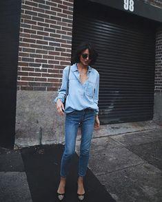 Crop straight leg jeans by @apc_paris ,denim shirt by #topshop