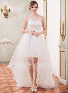 A-Line/Princess Sweetheart Asymmetrical Organza Wedding Dress With Ruffle Beading Sequins (002031874)