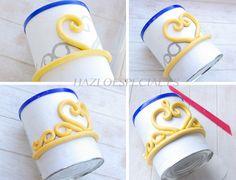 How to make a crown for princess cakes Fondant Figures, Cake Decorating Techniques, Cake Decorating Tutorials, Fun Cupcakes, Cupcake Cakes, Corona Cake, Corona Cupcakes, Fondant Crown, Gravity Cake