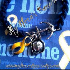 Military Jewelry - Navy -Sailor Hat Love Anchor Blue Boot Band Bracelet www.myheroskeepsakes.com  www.facebook.com/myheroskeepsakes