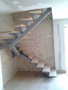 Stairs Gray Beige Wooden Metal Modern Escalera In 2019 Home Stairs Design, Interior Stairs, House Design, Steel Stairs Design, Tiny House Stairs, Loft Stairs, Stairs Covering, Plafond Design, Building Stairs