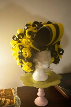 Yellow/black curly wig made by Lady Mallemour