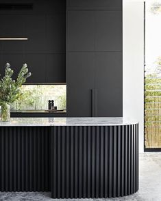 """The Local Project on Instagram: """"Project Gallery • Located in Sydney's inner-west, Concord Residence by @habitathousing and @noirblancinteriors presents itself to the…"""" Kitchen Room Design, Modern Kitchen Design, Interior Design Kitchen, Modern Interior, Black Kitchen Island, Minimalist Kitchen, Black Kitchens, Interior Architecture, House Design"""
