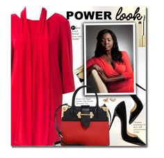 """""""Your Signature Power Look (plus size red dress)"""" by beebeely-look ❤ liked on Polyvore featuring Joseph Ribkoff, Christian Louboutin, Bobbi Brown Cosmetics, Prada, Kevyn Aucoin, country, reddress, plussize, powerlook and premiereavenue"""