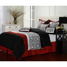 Reversible Bed in a Bag King Size 7-Piece,Red/Black #BedinaBag
