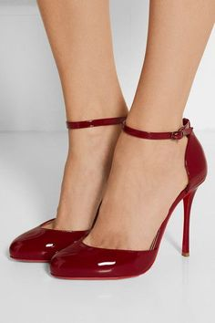 Heel measures approximately 100mm/ 4 inches Burgundy patent-leather Buckle-fastening ankle strap Designer color: Carmin Made in ItalySmall to size. See Size & Fit notes.