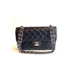 Pre-owned Chanel Shoulder Bag ($4,000) ❤ liked on Polyvore featuring bags, handbags, shoulder bags, apparel & accessories, wallets & cases, chanel handbags, leather purse, black handbags, leather shoulder handbags and black leather handbags