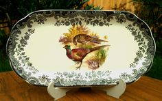"""Royal Worcester~Palissy~Game Series~Pheasant~Sandwich Plate~10~3/4"""" x 5~3/4""""~Ex!"""
