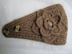 Light brown(coffee latte color) knit headband, ear warmer with crochet flower and rhinestone button