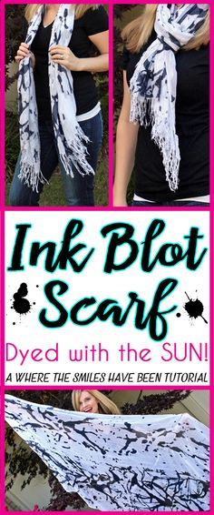 Abstract Black and White Ink Blot Scarf Dyed with the SUN! | Where The Smiles Have Been | Scarf Week 2015