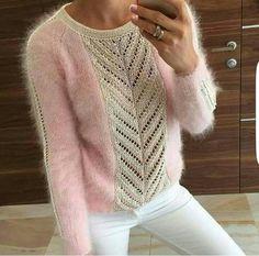 Пуловер из мохера с красивым у |