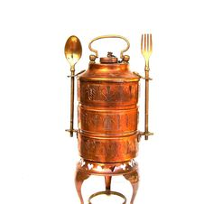 Vintage Copper Tiffin Stack Lunch Pail Carrier by OceansideCastle Lunch Time, Lunch Box, Tiffin Carrier, Copper Work, Copper Decor, Enamel Ware, Copper Kitchen, Kettles, Metalworking